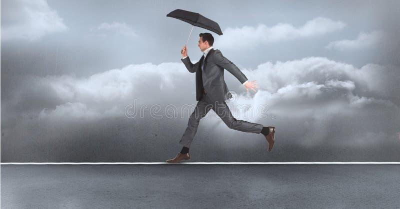 Digital sammansatt bild av affärsmannen med paraplyspring på rep över havet stock illustrationer