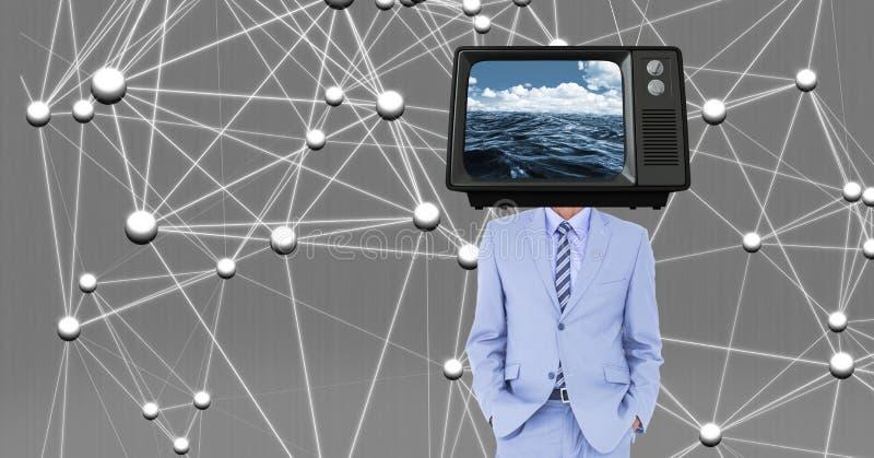 Digital sammansatt bild av affärsmannen med TV på huvudet mot anslutningsstrukturen fotografering för bildbyråer