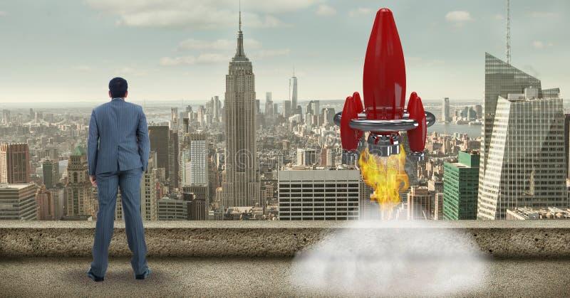 Digital sammansatt bild av affärsmannen, medan lansera raket mot cityscape royaltyfri illustrationer