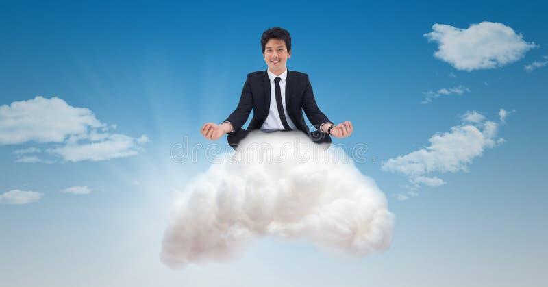 Digital sammansatt bild av affärsmannen på molnet royaltyfria bilder