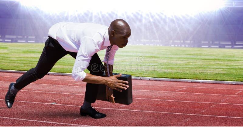 Digital sammansatt bild av affärsmannen på startpunkt på tävlings- spår fotografering för bildbyråer