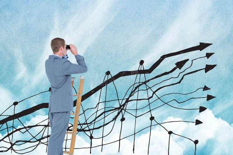 Digital sammansatt bild av affärsmannen som använder kikare på stege med grafen i himmel arkivbilder