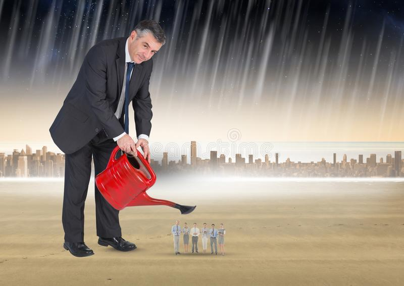 Digital sammansatt bild av affärsmannen som bevattnar affärsfolk i regn mot stad royaltyfri illustrationer