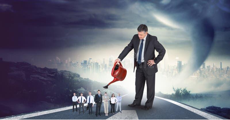 Digital sammansatt bild av affärsmannen som bevattnar anställda på huvudvägen med cityscape i bakgrund stock illustrationer