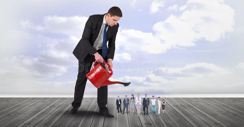 Digital sammansatt bild av affärsmannen som bevattnar anställda på strandpromenad stock illustrationer