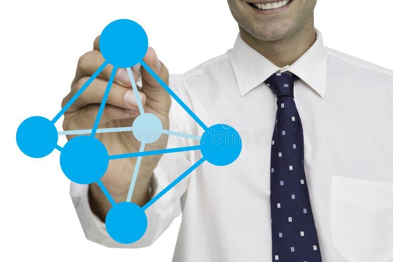 Digital sammansatt bild av affärsmannen som drar den geometriska strukturen mot vit bakgrund stock illustrationer