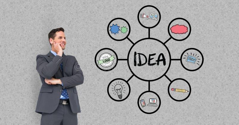 Digital sammansatt bild av affärsmannen som ser idédiagrammet mot den gråa väggen royaltyfri illustrationer