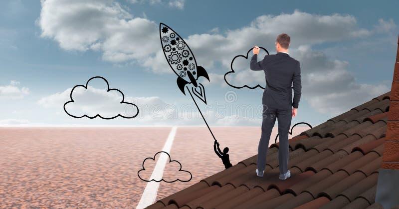 Digital sammansatt bild av affärsmanteckningsraket och moln på himmel vektor illustrationer