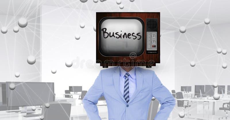 Digital sammansatt bild av bärande television för affärsman i huvud med nätverkandebakgrund royaltyfri illustrationer