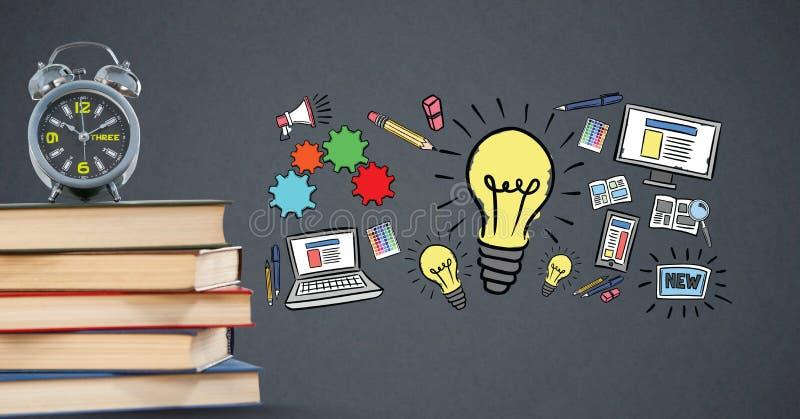 Digital sammansatt bild av böcker med klockor och idétecken stock illustrationer