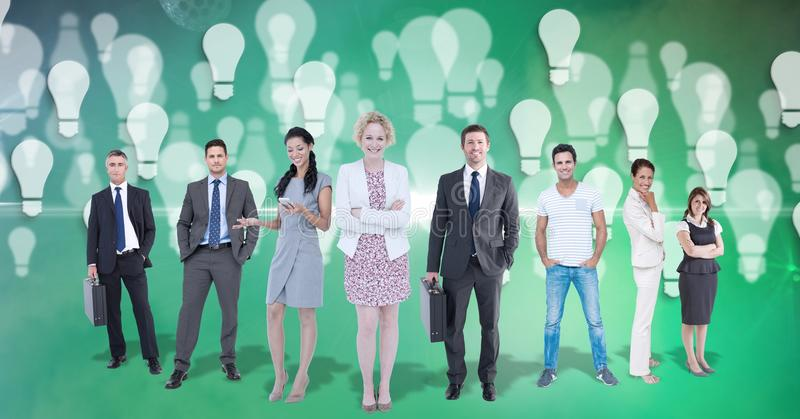 Digital sammansatt bild av bilden av affärsfolk med ljusa kulor som flyger i bakgrund royaltyfri foto