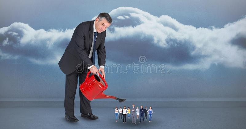 Digital sammansatt bild av chefen som bevattnar anställda mot molnig himmel vektor illustrationer