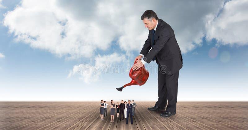 Digital sammansatt bild av chefen som bevattnar ledare på strandpromenad stock illustrationer