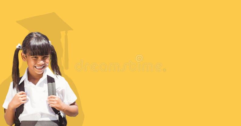 Digital sammansatt bild av den bärande påsen för flicka med doktorand- skugga i baksida arkivbilder