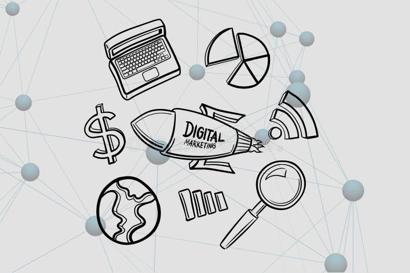 Digital sammansatt bild av den digitala marknadsföringen som är skriftlig på raket vid olika symboler vektor illustrationer