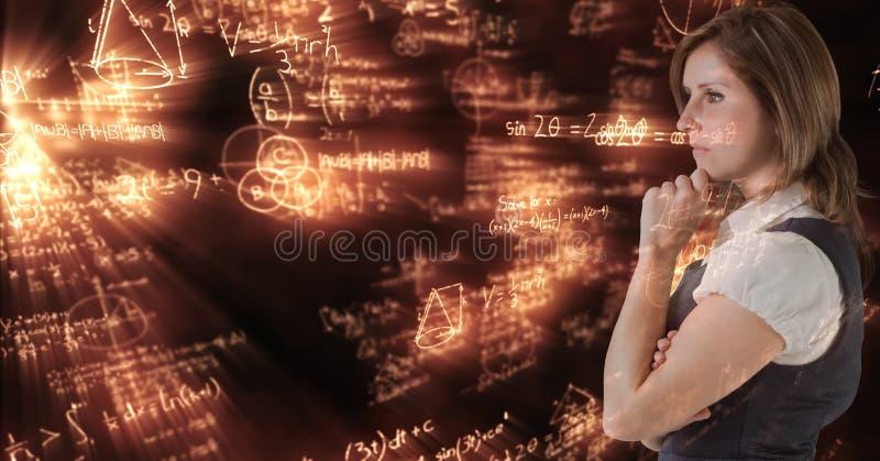 Digital sammansatt bild av den fundersamma affärskvinnan med matematiklikställande royaltyfri fotografi