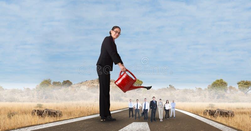 Digital sammansatt bild av den kvinnliga chefen som bevattnar anställda på gatan stock illustrationer