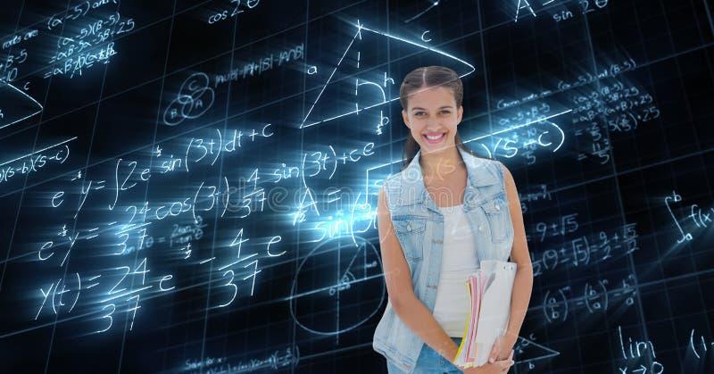 Digital sammansatt bild av den kvinnliga studenten med matematikdata arkivbild