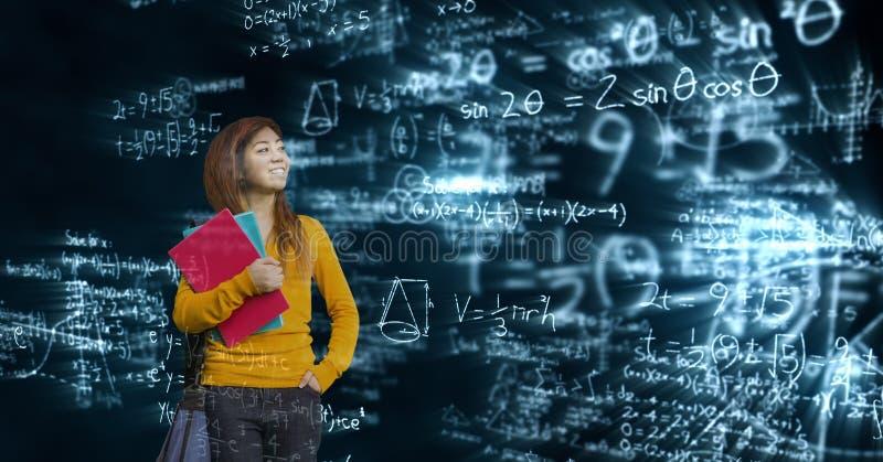 Digital sammansatt bild av den kvinnliga studenten som ser matematiklikställande royaltyfria bilder
