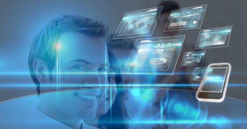 Digital sammansatt bild av den lyckliga affärsmannen med olika apparatskärmar arkivfoto
