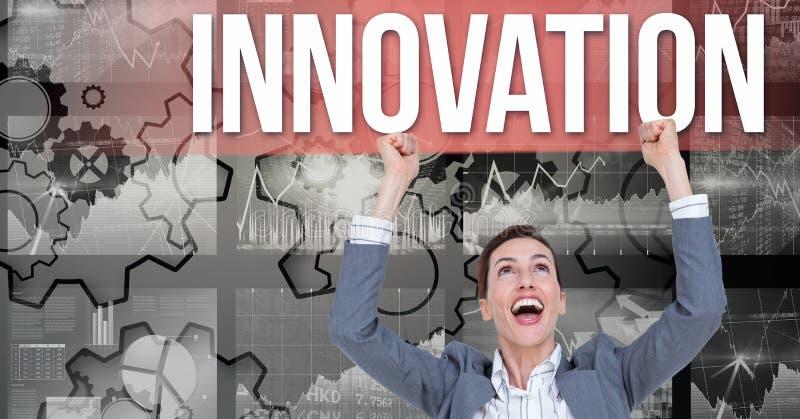 Digital sammansatt bild av den upphetsade affärskvinnan som ser innovationtext mot kugghjul royaltyfri illustrationer