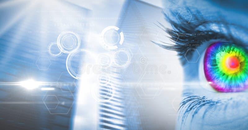 Digital sammansatt bild av det färgrika ögat på skärmen royaltyfri illustrationer