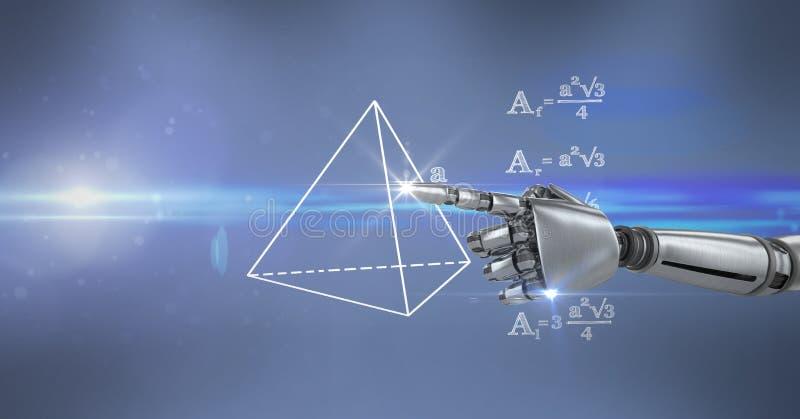 Digital sammansatt bild av diagrammet för matematik för robothand det rörande stock illustrationer