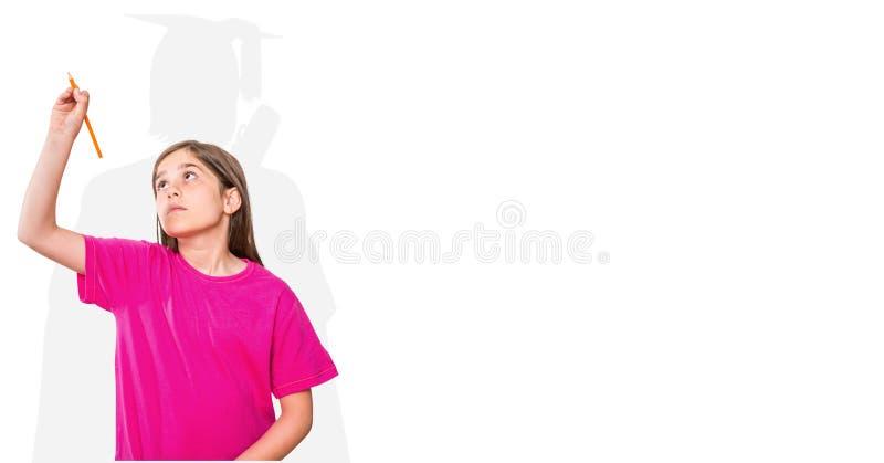 Digital sammansatt bild av flickahandstil med doktorand- skugga i baksida royaltyfri fotografi