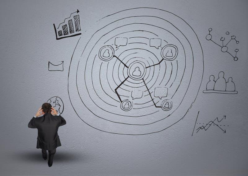 Digital sammansatt bild av frustrerade affärsman- och affärsdiagram stock illustrationer
