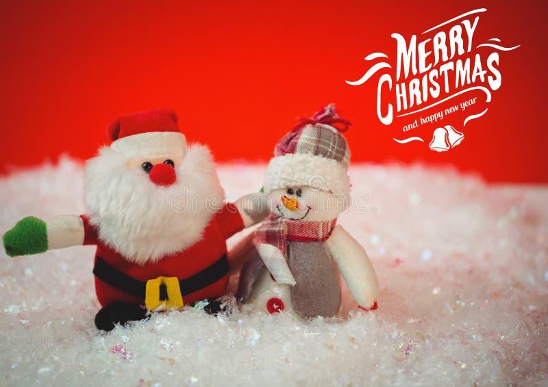 Digital sammansatt bild av glad jul och meddelande för lyckligt nytt år med santa och snögubben vektor illustrationer