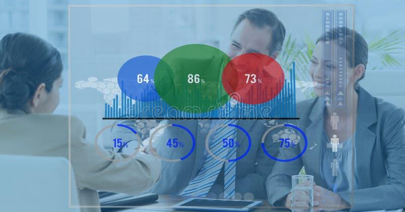 Digital sammansatt bild av grafen med affärsfolk i bakgrund royaltyfri foto