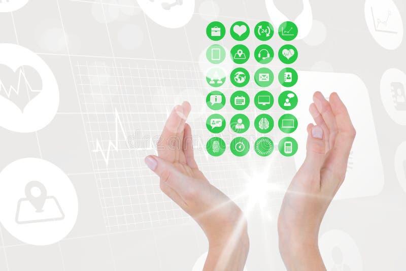 Digital sammansatt bild av handen som täcker olika symboler mot techdiagram stock illustrationer