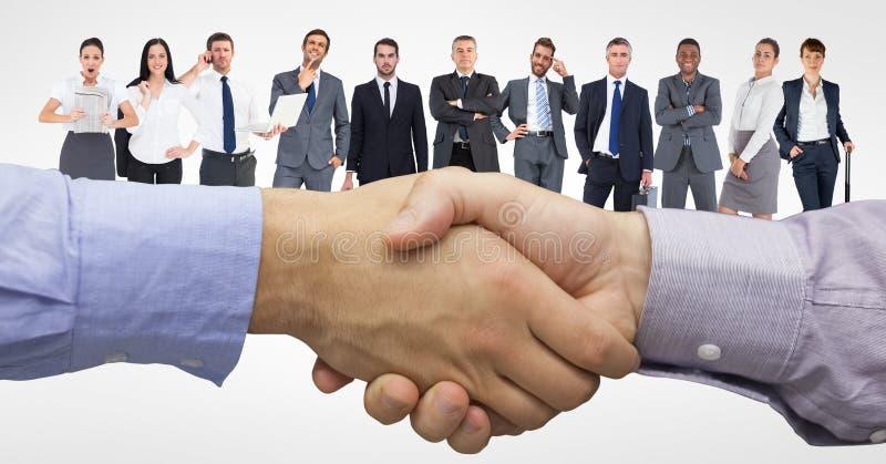 Digital sammansatt bild av handskakningen med affärsfolk i bakgrund stock illustrationer