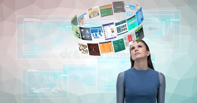 Digital sammansatt bild av kvinnan som ser olika webbsidor royaltyfri illustrationer