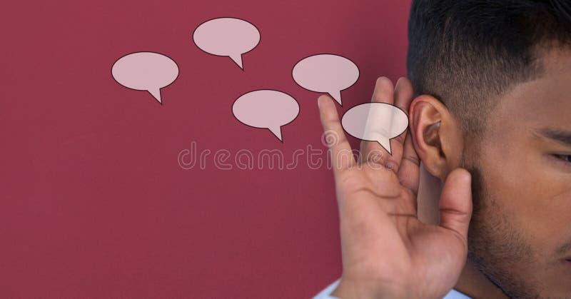 Digital sammansatt bild av lyssnande anförande för man arkivfoto