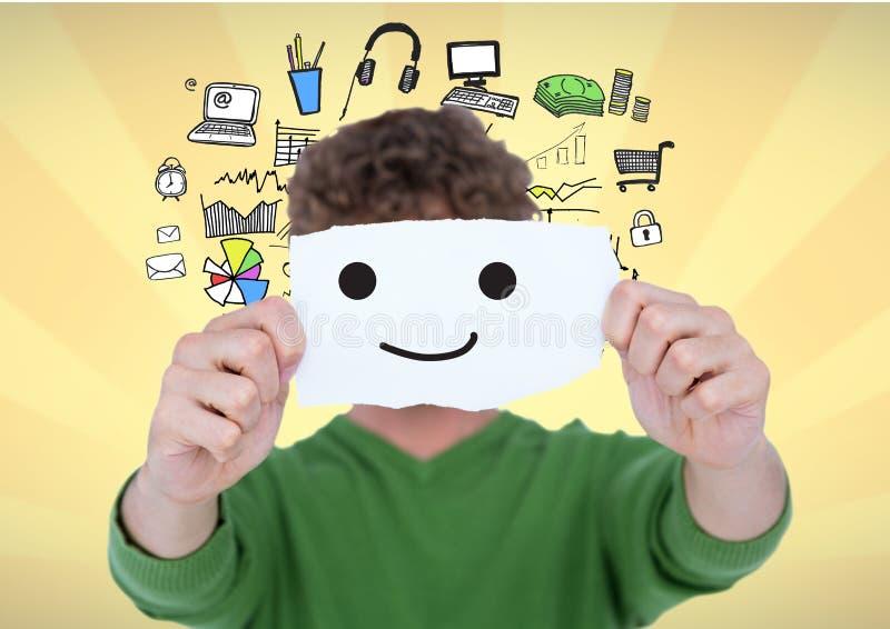 Digital sammansatt bild av mannen som täcker hans framsida med smiley på papper fotografering för bildbyråer