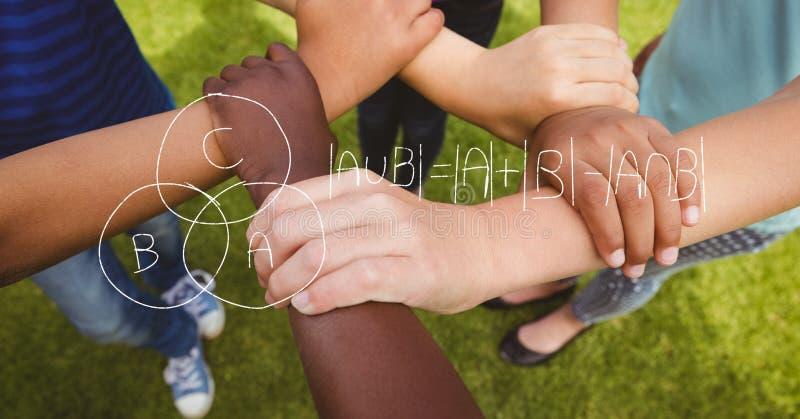 Digital sammansatt bild av matematiklikställanden över vänner som rymmer händer fotografering för bildbyråer