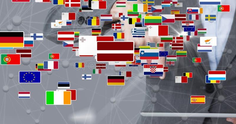 Digital sammansatt bild av olika flaggor mot affärskvinna royaltyfri illustrationer