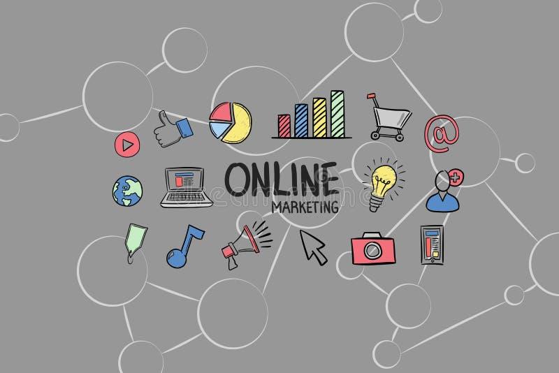 Digital sammansatt bild av online-marknadsföringstext med symboler vektor illustrationer