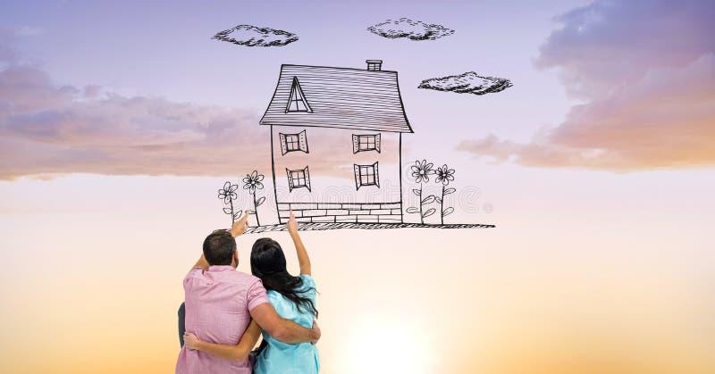 Digital sammansatt bild av par som pekar på det dröm- huset arkivbild
