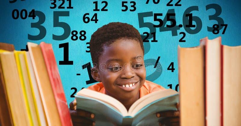 Digital sammansatt bild av pojken som studerar med nummerflyg i bakgrund fotografering för bildbyråer