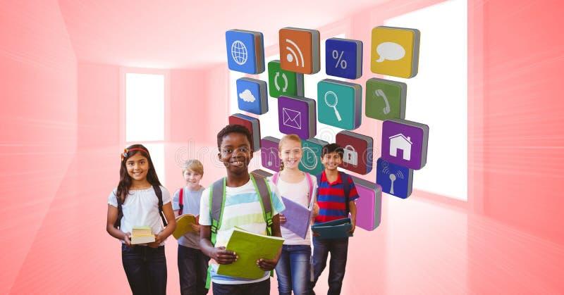 Digital sammansatt bild av skolbarn med böcker och applikationsymboler royaltyfri fotografi