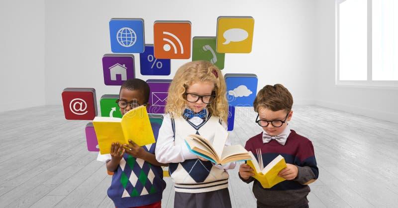 Digital sammansatt bild av skolbarnläseböcker mot applikationsymboler arkivfoto