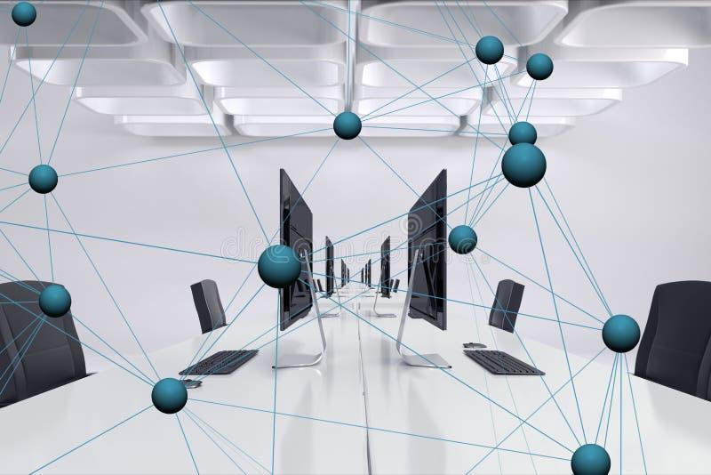 Digital sammansatt bild av techdiagrammet i regeringsställning stock illustrationer