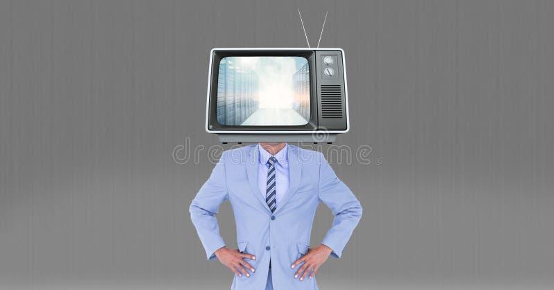 Digital sammansatt bild av television på huvudet för affärsman` s royaltyfri bild