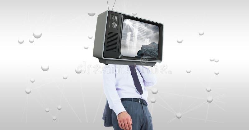 Digital sammansatt bild av TV på huvudet för affärsman` s arkivfoto