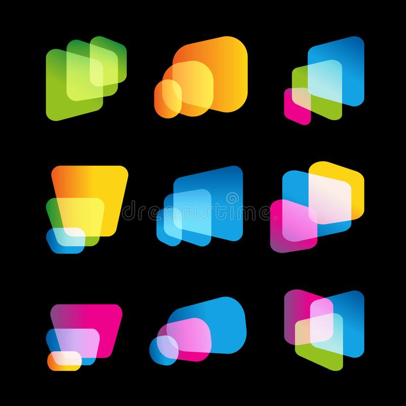 Digital-Schirm des tragbaren Geräts, heller Vektorlogosatz Mehrprozeßsysteme, große Datenbanken, abstrakte Formen, Logo lizenzfreie abbildung