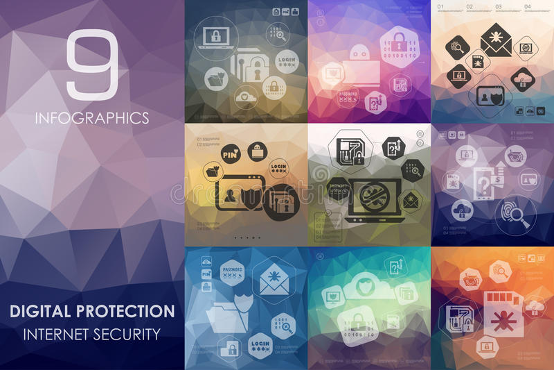 Digital-Schutz infographic mit unfocused Hintergrund stock abbildung