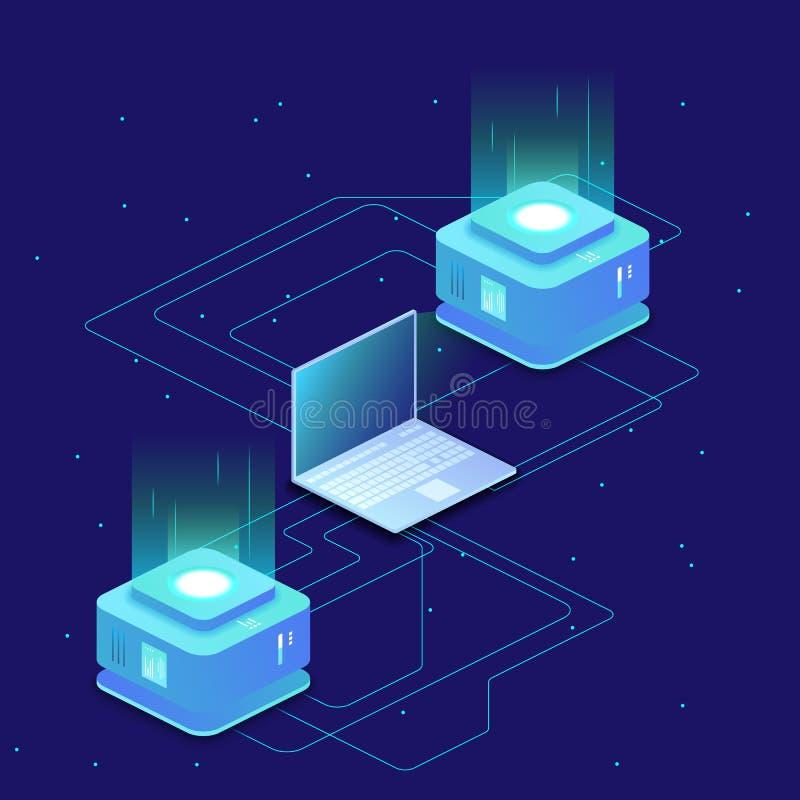 Digital science concept, server room, cloud storage, data exchange, computer memory, abstract lighting isometric. Dark neon vector vector illustration