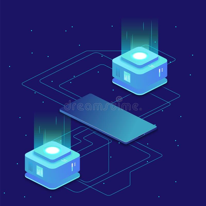 Digital science concept, server room, cloud storage, data exchange, computer memory, abstract lighting isometric. Dark neon vector royalty free illustration